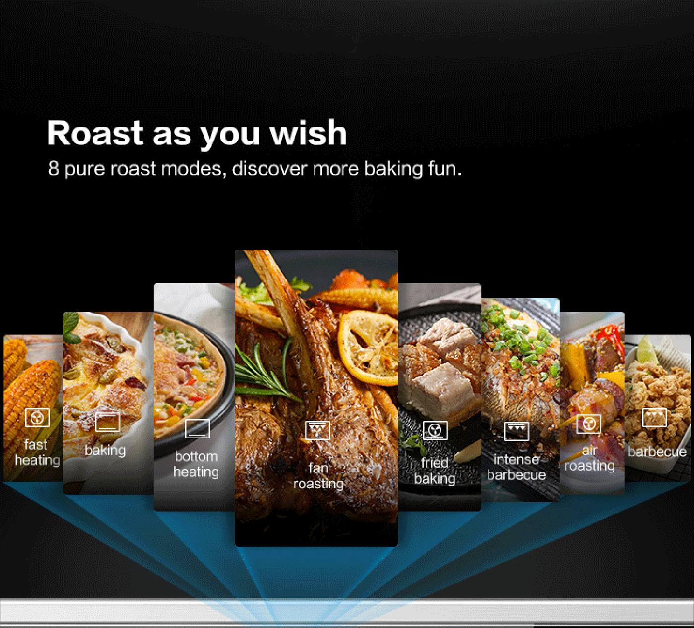 3)3-level steam roasting modes, prevent food too dry or too rigid<br /> Roast with low steam Roast with medium steam Roast with high steam<br /> Crispy outside and tender inside Tender and delicious Tender and juicy
