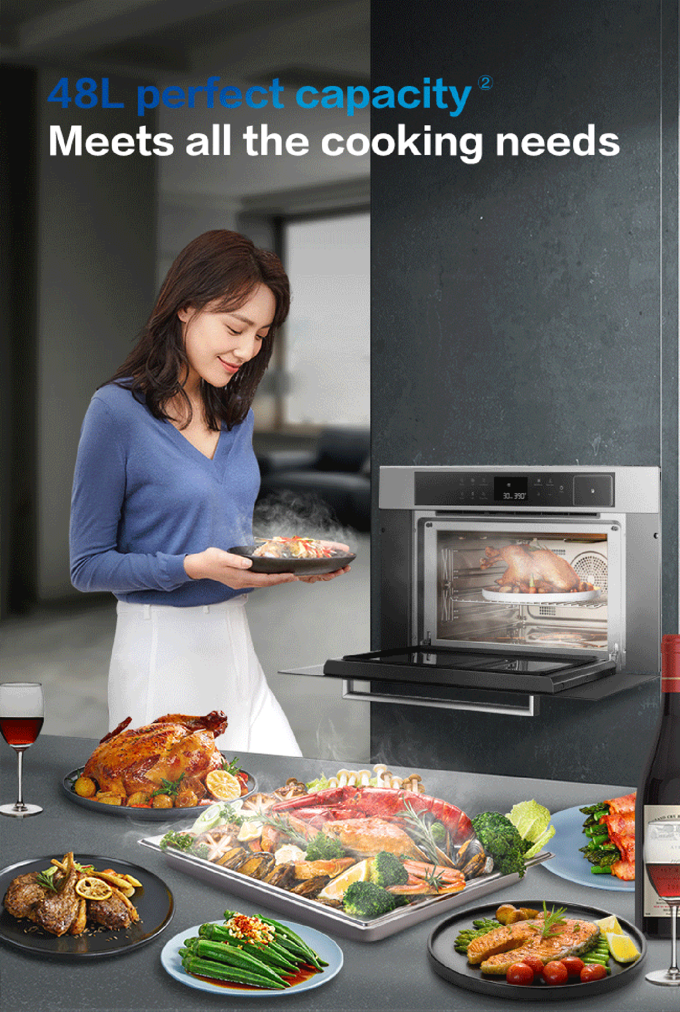 ③One-button brings chef level feast<br /> 50 automatic cooking menus<br /> ④Enjoy excellent taste<br /> 4 + 1 multi-dimensional roasting tubes<br /> ⑤Intelligent humanized design