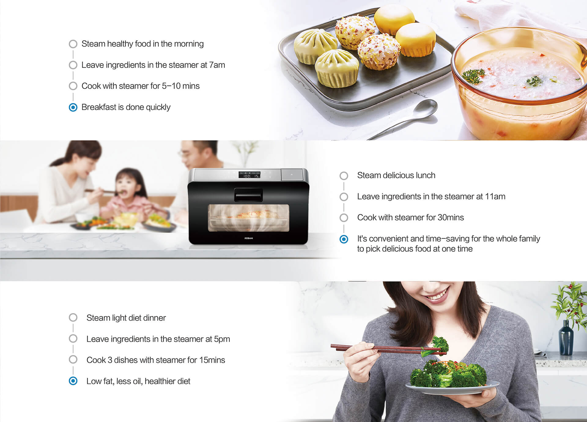 the taste of food is better: after heating in microwave oven, the taste of food will be lost and the things made will dry; while the original technology of the ROBAM steamer makes the air circulation in the